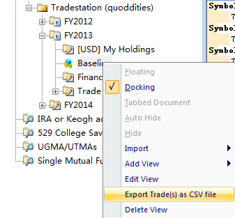 export trades as csv file