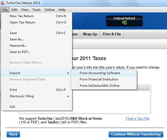 How to import TXF file into turbotax